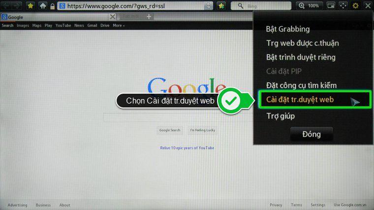 Chọn tiếp Cài đặt trình duyệt web