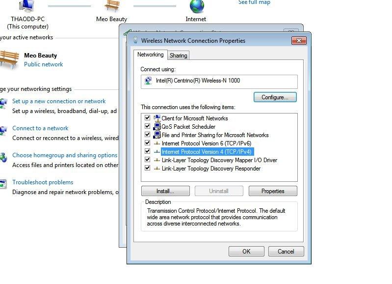 Chọn Ip Protocol Version 4 để cập nhật địa chỉ IP
