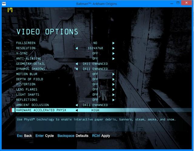 Nếu bật công nghệ DirectX 11 và PhysX, card đồ họa sẽ làm việc nặng hơn.