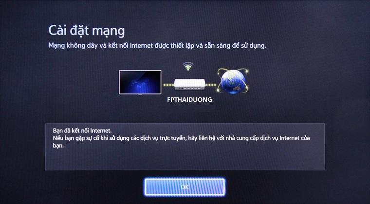 Tivi thông báo kết nối internet thành công