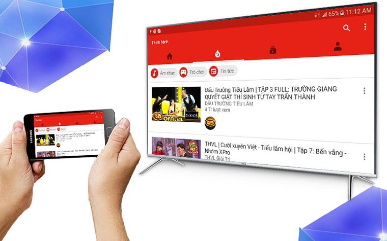 Mở YouTube bằng điện thoại rồi chiếu lên tivi